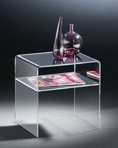 HOWE-Deko Hochwertiger Acryl-Glas Beistelltisch/Endtisch, klar, 40 x 33 cm, H 35 cm, Acryl-Glas-Stärke 6 mm
