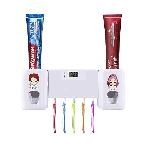 Puersit Zahnpasta-Spender mit elektronischer Uhr, selbstklebend, automatisch