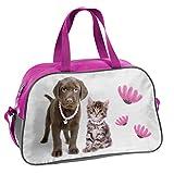 Ragusa-Trade Studio Pets - Hunde Welpen Sporttasche Reisetasche mit süßem Labrador Welpen und Kätzchen als Motiv (RLA) für Jungen und Mädchen, grau/rosa, 40 x 25 x 13 cm