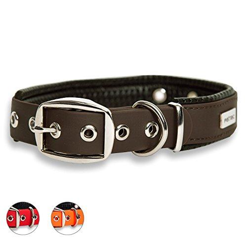 PetTec Hundehalsband aus Trioflex mit Polsterung, Braun, Wetterfest, Wasserabweisend, Robust