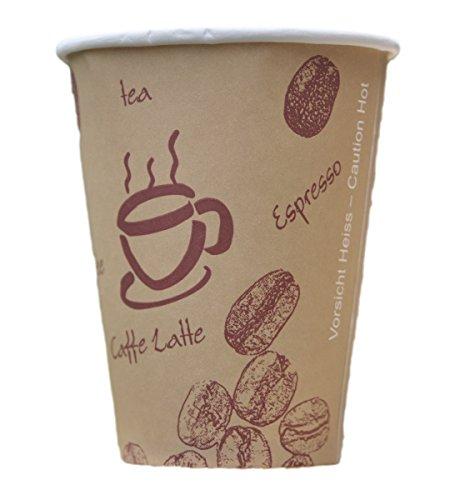 200 Stk. Kaffeebecher Premium, Coffee to go, Pappe beschichtet, 200 ml / Hochwertiger hitzebeständiger 'Coffee to go' Becher bedruckt mit Motiv 'HOT BEANS'
