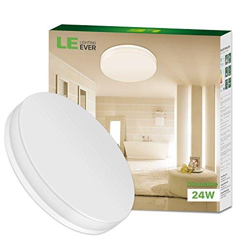 LE 24W dimmbar Wasserfest Deckenleuchte 2100lm Deckenlampen 3000K Warmweiß led Deckenlampe IP54 Ø330x48mm ideal für Badezimmer Balkon Flur Bad Küche Wohnzimmer.