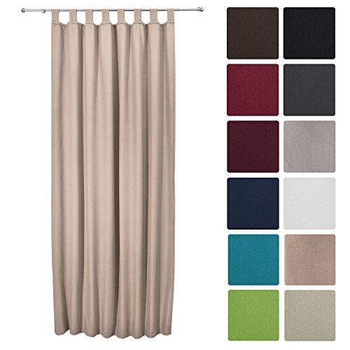 Beautissu Thermovorhang Amelie 140x245 cm Schlaufen-Schal Vorhang blickdicht & Verdunkelung - isolierende Gardine Sand