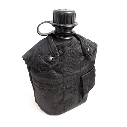 Feldflasche 1 Liter inkl. Trinkbecher (Kochbehälter) aus Aluminium, Bundeswehr-Flasche / Alu Travel Bottle + Stofftasche in schwarz - Marke Ganzoo