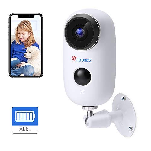 Ctronics Akku Überwachungskamera Aussen WLAN, Kabellose 720P Batterie IP Kamera akku Outdoor mit PIR Bewegungsmelder, Push Alarme, 2-Wege-Audio, IR Nachtsicht, und IP65 Wasserdicht