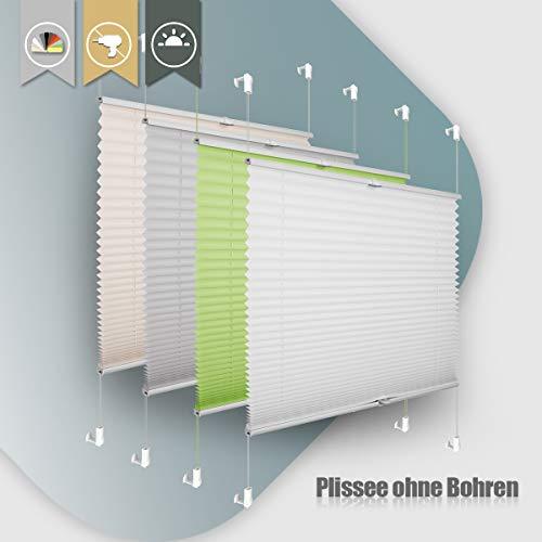 Plissee ohne Bohren klemmfix Jalousie Sonnenschutz Easyfix Faltrollo Lichtdurchlässig Rollo für Fenster,Tür-Weiß 90x100cm(BXH)