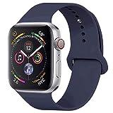 GIPENG Für Apple Watch Armband 42mm 44mm, Soft Silikon Classic Sportarmband Ersatz Uhrenarmbänder für iWatch Series 4, Series 3, Series 2, Series 1(Mitternachtsblau, 42ML)