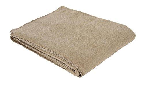 Baumwolldecke Made in Germany, 100 % Baumwolle, mit dekorativer Häkelkante, Maschinenwaschbar bis 30º C, trocknergeeignet, hermelin, 150 x 200 cm