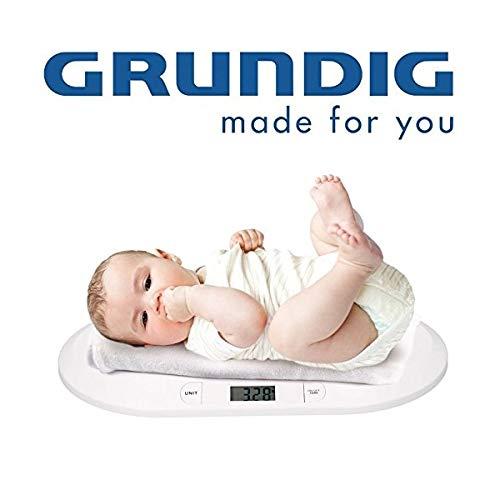 Grundig BW219 Digitale Babywaage Kinderwaage bis 20kg, flache Digitalwaage für Neugeborene Frühchen Säuglinge und Babys, Waage mit LCD Display, Tierwaage, Säuglingswaage,inkl. Batterien,Version 2019