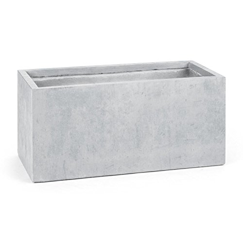 Blumfeldt Solidflor • Pflanztopf • Pflanzkübel • Pflanzgefäß • Innen- und Außeneinsatz • frostsicher • Beton-Optik • verstärkter Rand für hohe Stabilität • niedriges Gewicht • ca. 25.3 kg • hellgrau
