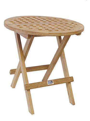 AFG Gartentisch rund Massives Teakholz unbehandelt/Klappbarer Beistelltisch, Klapptisch, Holztisch 50 cm