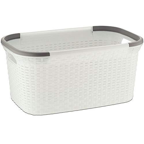 MamboCat Rio 40 L grau weißer Wäschekorb Plastik stabil I Laundry Box Wäsche I Wäschesammler Kunststoff I Wäschewanne ideal zum Wäsche vorsortieren transportieren 55x35x35 cm (LxBxH) (Weiß)