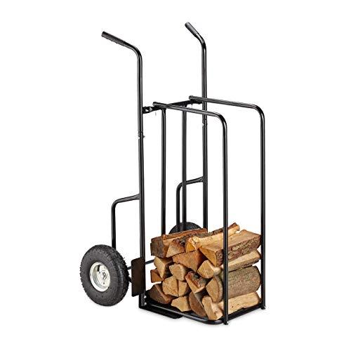 Relaxdays XL Kaminholzwagen Metall, Brennholzkarre mit 2 großen Rädern, bis 200 kg, Transport & Aufbewahrung, schwarz