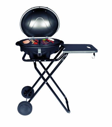 SUNTEC elektrischer Standgrill BBQ-9493 [abnehmbare Haube mit Temperaturanzeige, Ablagetablett, 46x35 cm Grillplatte, Standfuß mit Rädern, max. 1600 Watt]