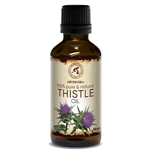 Distelöl 50ml - Kaltgepresst - Silybum Marianum Seed Oil - 100% Rein und Natürlich - Intensive Pflege für Haut - Gesicht - Körper - Haare - Glasflasche - Mariendistel Öl - Thistle Oil