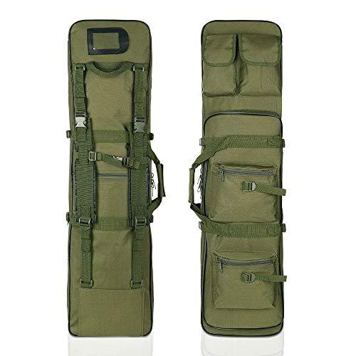 LUVODI Waffentasche 100x30x7cm Grün - Abschließbare Gewehrtasche Gewehrkoffer Rutentasche mit Schultergurt und Außentasche
