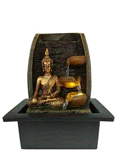 Creative Touch Goldener Buddha mit Wasserschalen zimmerbrunnen mit LED Licht | Größe 21 * 17,5 * 24 cm Design in UK, kommen mit 2-Pin-EU-Adapterstecker.