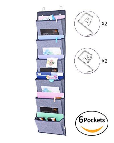 Homyfort Hängeaufbewahrung für über die Tür oder Wand - Magazinboard, Hängeorganizer, Stoffregal, Zeitungshalter ,6 Taschen Grau MAGAZINE1