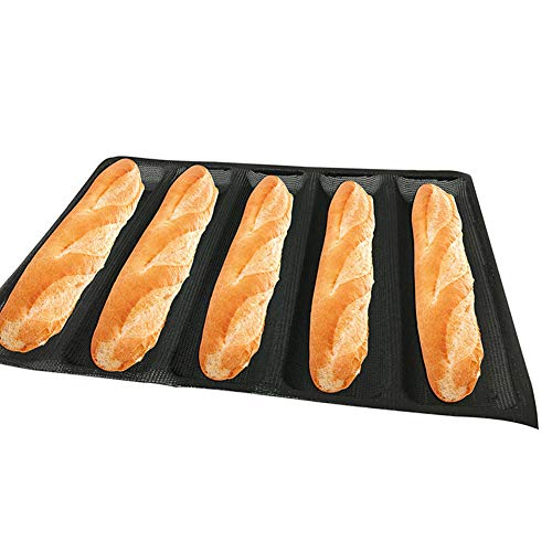 Baguette-Backblech, französischer Stick, Kastenform, Backform für 5 Baguetten, antihaftbeschichtet, wiederverwendbar, Silikon, Baguetteschale Free Size Wie abgebildet