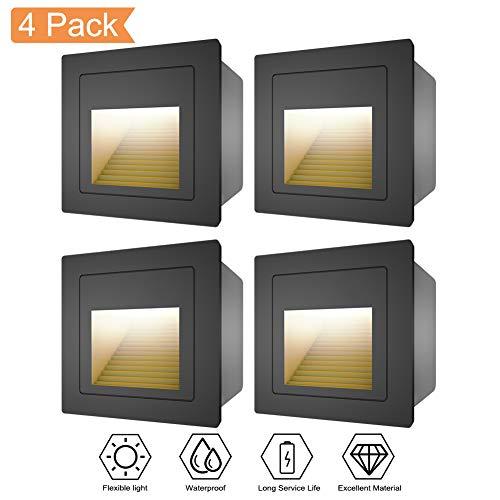 WZOED Wandeinbauleuchte LED Aluminium 4er Treppenlicht Stufenleuchte Aktzentbeleuchtung Flaches Satinglas Quadratische LED Treppenbeleuchtung 3W 3000K IP65 Warmweiß [Energieklasse A++] -Schwarz