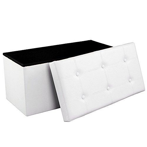 Songmics Sitzbank Sitzhocker mit Stauraum faltbar 2-Sitzer belastbar bis 300 kg kunstleder weiß 76 x 38 x 38 cm LSF106