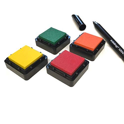 KATINGA Stempelkissen (6er Set) BUNT mit Stift für Fingerabdrücke, zum Basteln und zum kreativen Gestalten (6 Farben (rosa))