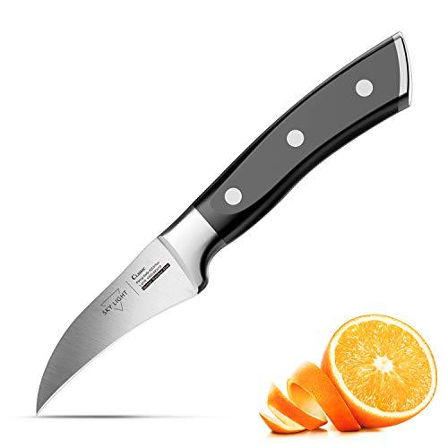 SKY LIGHT Schälmesser Obstmesser 7cm Klinge Gemüsemesser Küchenmesser Kochmesser Ergonomischer Griff Besteck aus Deutscher Edelstahl