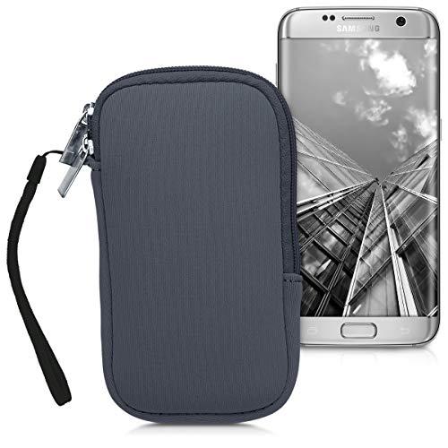kwmobile Handytasche für Smartphones M - 5,5' - Neopren Handy Tasche Hülle Cover Case Schutzhülle Grau - 15,2 x 8,3 cm Innenmaße