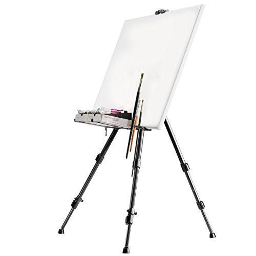 Walimex Aluminium Atelierstaffelei (max. Belastbarkeit: ca. 6 kg, inkl. Ablage für Farben, Pinsel, Tuchhalterung und Tragetasche, geeignet für Leinwände bis 122 cm Höhe)