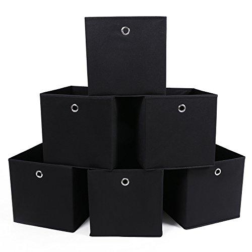 SONGMICS 6 Stück faltbare aufbewahrungsbox faltbox mit Fingerloch 30 x 30 x 30 cm Schwarz RFB02H-3