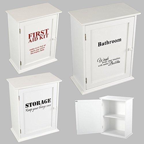 Medizinschrank Hausapotheke Apothekerschrank Badregal Regal Schrank Holz Weiß (Storage)