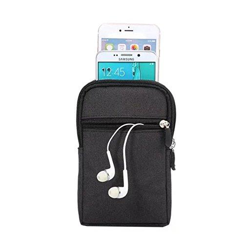 MojiDecor Hüfttasche Handytasche Bauchtasche Gürteltasche Taillepäckchen Handyhülle mit Gürtel Schlaufe für Smart Phones bis 6,3 inch iphone 7s plus/iphone 6/S6 (Schwarz)