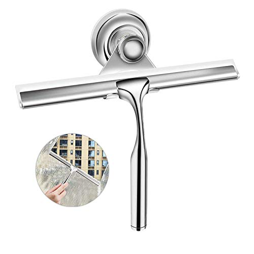 Ponsey Duschabzieher, Fensterabzieher aus Edelstahl mit austauschbarem Wischblatt zur Badezimmer Fensterabzieher für Badezimmer Spiegel Fenster Glasreinigung
