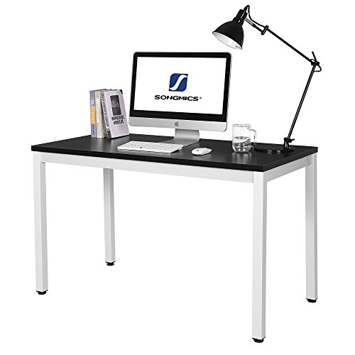SONGMICS Schreibtisch Große Computertisch Bürotisch Arbeitsfläche PC-Tisch für Home Office 120 x 76 x 60 cm schwarz + weiß LWD64B