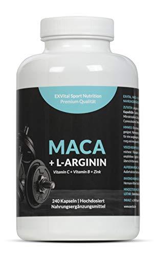 Maca Kapseln 4000 mg + L-Arginin 1800 mg + Vitamine + Zink, hochdosiert, 2-Monatspackung mit 240 Kapseln in deutscher Premiumqualität, Geld zurück Garantie, 1er Pack (1 x 206,4 g) von EXVital