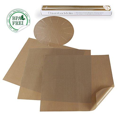 Amazy Dauerbackfolie (4 Stück) – Das Premium Backpapier – wiederverwendbar, antihaftbeschichtet und spülmaschinenfest (4er Pack – 3 x rechteckig, 1 x rund)