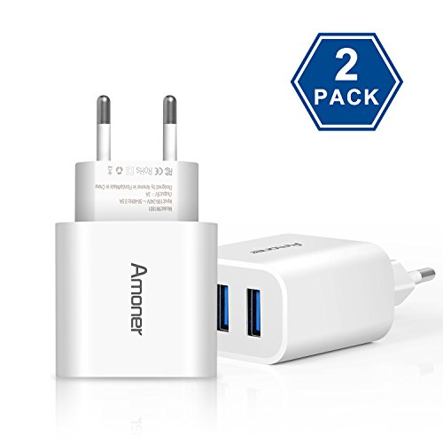 Amoner USB Ladegerät 2 Stücke 3-Port 3A Ladeadapter für iPhone X/8/8 Plus, Galaxy S9/S9 Plus/S8/S8 Plus/Note, iPad, Sony, HTC, Motorola, LG und Weitere Geräte