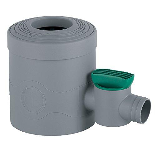 Regensammler Fallrohrfilter mit Hahn grau für Fallrohre von 68 - 100 mm Durchmesser und Viereckfallrohre mit 60 x 60 mm zum Befüllen von Regentonnen, Regenfässer und Regenspeicher