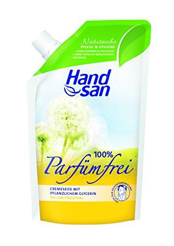 Handsan Cremeseife 100% PARFÜMFREI im Nachfüllbeutel 300 ml / Cremseife seifen- und parfümfrei Nachfüllbeutel im 6er Vorratspack (6 x 300 ml)