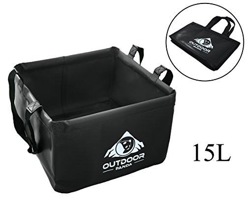 Outdoor Faltschüssel 15 Liter | Faltbare Camping Waschschüssel Zum transportieren und abwaschen von Geschirr und Lebensmitteln (05 Schwarz)