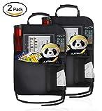 Aoyool 2 Stück Auto Rückenlehnenschutz Große Taschen und iPad, Kinder Multifunktionen Rückenlehnen-Tasche mit iPad-Tablet, Halter Kick-Matten-Schutz für Auto