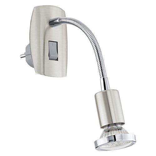 EGLO Steckerleuchte Mini 4 Stahl, 1x GU10 2,5 W LED inklusive Leuchtmittel, Ein-Aus-Schalter an der Leuchte, 7 x 10 x 22 cm, nickel-matt/chrom, 92933