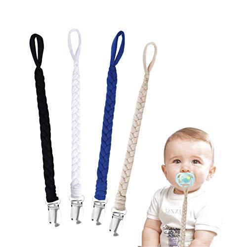 Schnullerkette Baumwolle Schnullerband Baby Schnullerketten für Neugeboren Mädchen und Jungs Lätzchen Dreieckstuch Sauger Schnuller 4 Stücke
