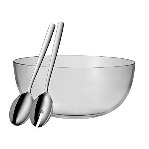 WMF Salatschüssel-Set 3-teilig TAVERNO Glasschale Ø 30 cm Salatbesteck 30 cm Glas Edelstahl Cromargan rostfrei spülmaschinengeeignet