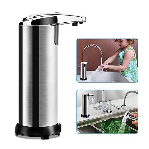 mixigoo Seifenspender Automatisch, Automatischer Seifenspender Edelstahl Sensor Infrarot Seifenspender Berührungslos Flüssigseifenspender für Küchen und Badezimmer mit Wasserdichter Basis (210 ml)