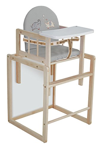 roba Kombi-Hochstuhl, Hochstuhl mit Essbrett wandelbar zu Tisch & Stuhl, Kinderhochstuhl Holz natur, Sitz gepolstert 'Jumbotwins'