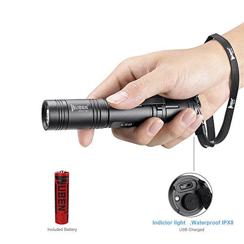 LED Taschenlampe / Taktische Taschenlampe Outdoor Handlampe Wasserfest IPX8 USB Wiederaufladbar LED Taschenlampen WUBEN Extrem Super hell 1200 Lumen aufladbar , 5 Modi, Wandern ,Mit 18650 Batterie