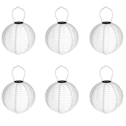 LED Solar Lampion 30 cm weiß 6 Stück | Rund | Warmweiß