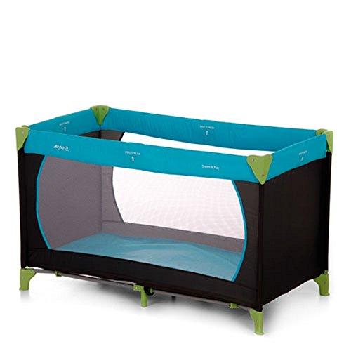 Hauck Kinderreisebett Dream N Play, inkl. Hauck Reisebettmatratze, tragbar und klappbar, 120 x 60 cm, blau/schwarz/grün (waterblue)