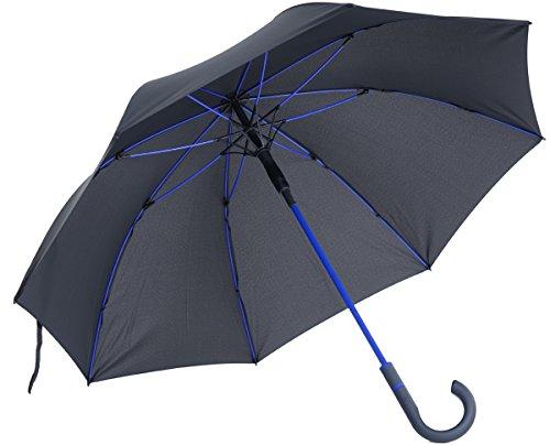 vanVerden Großer Automatik Regenschirm, Teflon Beschichtung, Windsicher, leicht und extra stabil aus Fiberglas / 112cm Durchmesser, 90cm Länge, Farbe:Anthracite/Euroblue